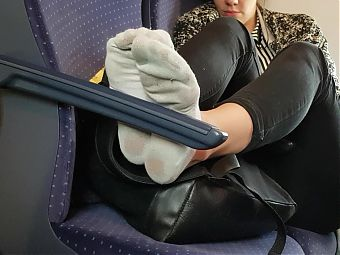 White worn socks in german train