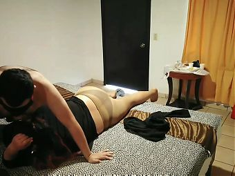 Enjoying with my husband in a motel in pantyhose