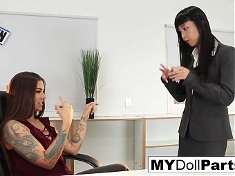 Boss Kayla makes her employee Marica worship her feet