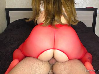 Amateur Stepsister wearing Red Pantyhose cowgril