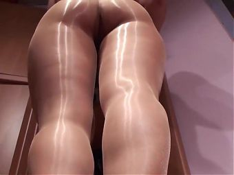 Shiny Tan Pantyhose Tease