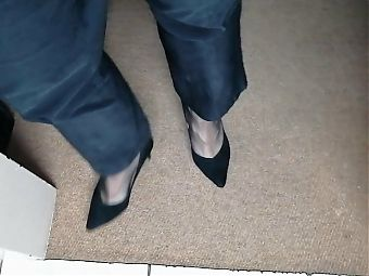 Secretly wearing my wifes worn work clothes and heels