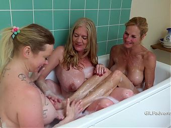 Big older boobs getting soapy, with feet fun